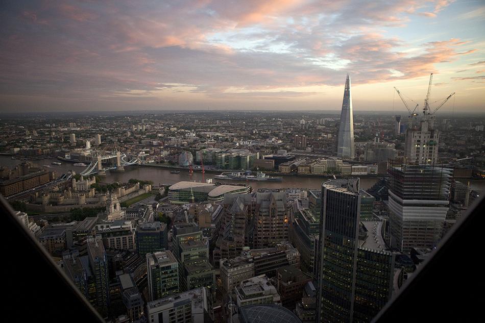 City landscape lit by artificial lighting