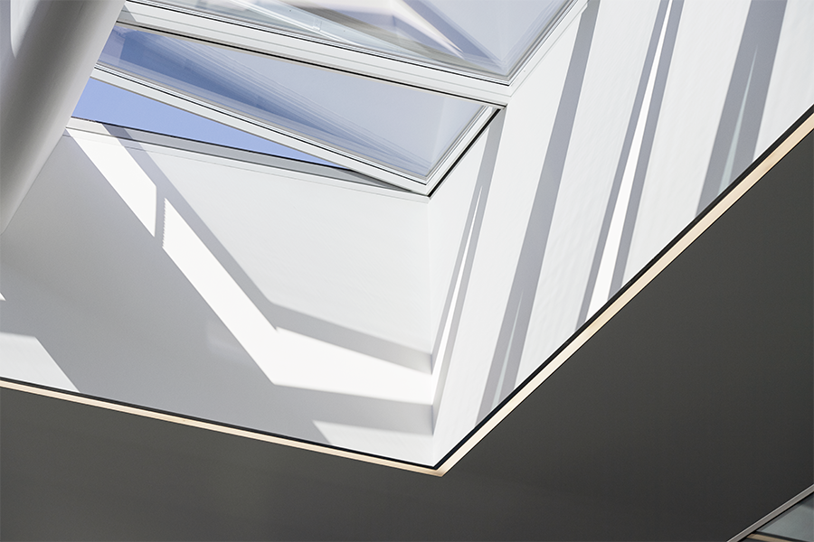 VELUX modular skylights letting the natural light come through and opening for ventilation